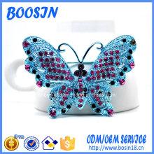 Custom Alloy Blue Crystal Butterfly Pin Brosche für Kostüm