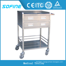 SF-HW2020 stainless steel hospital emergency trolley equipment function