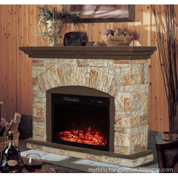 classic insert electric fireplace with polystone mantel