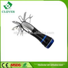 Werkzeugtaschenlampe 170-220LUM 3W LED u. 4 rote LED bewegliche geführte Taschenlampenfackel