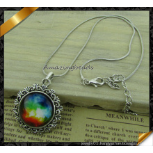 Vintage Glass Galaxy Cabochon Pendant Silver Chain Necklace (FN038)