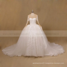 Elegant Multi Layers Long Sleeve Lace Ball Gown Wedding Dress Bridal 2017