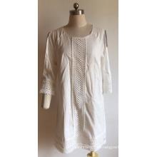 Vestido de gasa de algodón para mujer con agujero en la manga
