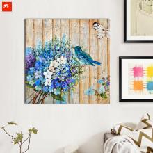 Blue Bouquet Wood Wall Art Flowers Birds Oil Painting