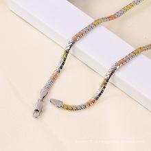 Трехцветное позолоченное ожерелье