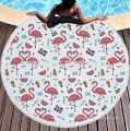 Flamingos Pattern Thick Terry Round Beach Towel With Fringe Tassels Tapestriesupplier