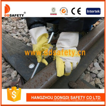 Gelbes PVC mit weißer Baumwollrückseiten-Garten-Handschuhen Dgp103