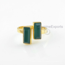 El surtidor al por mayor para el anillo verde del ónix, la joyería de los anillos de la piedra preciosa del onyx del oro 18k