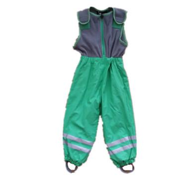 Green Sleeveless Jumpsuit/Pants/Overall/Raincoat with Fleece for Children