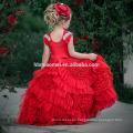 Children Red Color Sleeveless Little Queen flower girl dress For Wedding