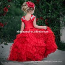 Kind-rote Farbe ärmelloses Blumenmädchenkleid der kleinen Königin für die Hochzeit