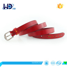 women full - grain leather belt with alloy buckle