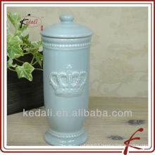 grey glaze embossed ceramic face tissue holder