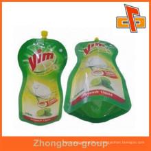 Venta al por mayor fábrica de China material de embalaje estancos bolsa de plástico reutilizable para el embalaje líquido