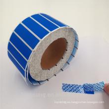 Garantía adhesiva impermeable Etiqueta antidesgaste comprobada a prueba de manipulaciones