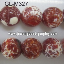 Round agate bead-red fire