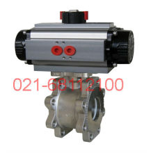 Pneumatic double acting wafer type ball valve