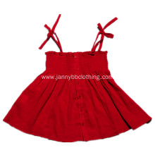 girls machine smocked red slip dress