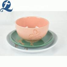 Vaisselle en céramique pas cher restaurant assiette ronde colorée