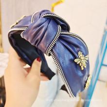 Bandeau Opaska Vintage PU Knot Bee Headband Luxury Hair Accessories Korean Hairband for Women Girl Dropshipping Wholesale