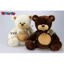 Preço grossista Plush Stuffed Big Tummy Toy urso de pelúcia com fita em cor bege e marrom