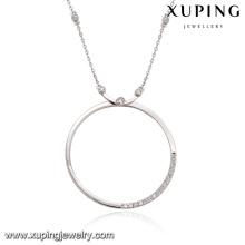 43424-new york fantaisie bijoux collier de couleur argent simple