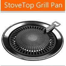 Antiadherente No Smoke Round BBQ Grill Plate con aprobación LFGB