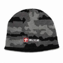 Men's camo hat with jacquard knit camo pattern and embroidery logo