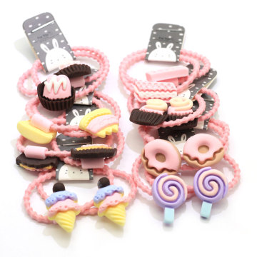 Bulk 100Pcs Pastel Baby Girl Child Kids Elastic Hair Band Sweet Dessert Decoration Rubber Hair Band Headband Ponytail Holder