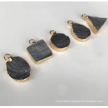 Brazilian Agate Crystal Triangle Oval Square Drop Shape Gilt Edging Double Hanging Holes DIY Jewelry Accessories