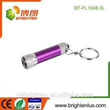 Venta al por mayor de la fábrica Venta al por mayor Uso de la emergencia Mini tamaño OEM Alta calidad 4 * LR4 Batería Aleación de aluminio multicolor 3 llevó el keychain llevado de la antorcha