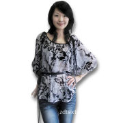 Women's Polyester Shirt/Blouse with Chiffon printing, Available in Various Sizes