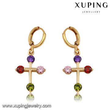 92166 Fashion Colorful Cubic Zirconia Cross Jewelry Eardrop