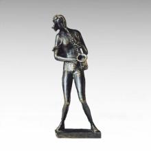 Ost-Statue Traditionelle Dame spielt Sax Bronze Skulptur Tple-017