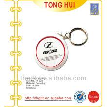 Custom coin shape printed logo keychains/keyrings metal