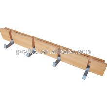 Cabides de madeira para parede com gancho de alumínio