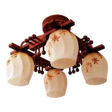 Lámpara de techo de vidrio colgante de planta de madera