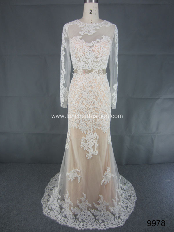 Long Sleeve Lace Wedding Mermaid Dress
