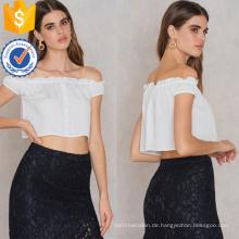 Heißer Verkauf Nette Weiße Off-Schulter Kurzarm Sommer Top Herstellung Großhandel Mode Frauen Bekleidung (TA0088T)