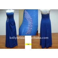 синий с боковыми узоры бисером для подружек невесты платья партии сексуальные платья F449