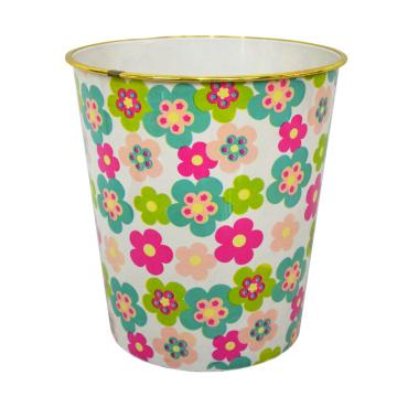 Round Plastic Flower Printed Open Top Waste Bin (B06-2020-5)