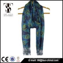 peafowl printed soft handfeel metallic viscose scarf