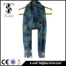 Peafowl impreso suave handfeel bufanda de viscosa metálica