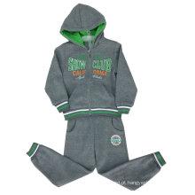 Conjunto de trajes de menino de algodão em roupas de crianças em Cardigan com capuz menino ternos Swb-107