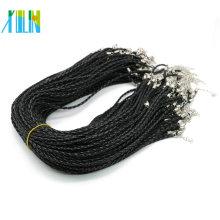 Collar de cuero trenzado de 19 pulgadas con broche de langosta, collar negro ajustable de 3.0 mm, 100 piezas / paquete, ZYN0003