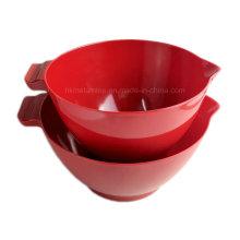 Ensemble de bol de mélange de mélamine rouge 2PCS