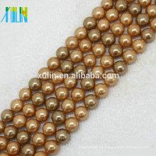 cuentas de piedras preciosas naturales perlas de concha sueltas de 8 mm de color dorado