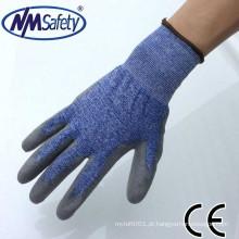 Equipamentos de segurança NMSAFETY 18 knut anticut nível 4 PU palm revestido de luvas de malha