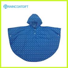Poncho de la lluvia de los niños del PVC del poliéster con la impresión completa Rvc-085