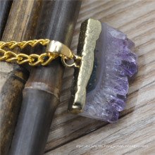 Handgemachte Legierung Spike Ohrring natürlichen Stein Pendents